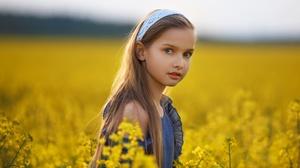Summer Girl Little Girl Rapeseed Blonde Depth Of Field 3200x2133 Wallpaper