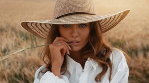 Woman Hat Redhead Face Blue Eyes 2300x1294 Wallpaper