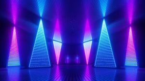 Neon Glowing Lights Colorful Triangle Abstract 3D Abstract Reflection Room Lines Blue Futuristic Pin 6000x3750 Wallpaper