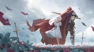 Anime Anime Girls Flowers Petals Cloack Green Eyes Blonde Long Hair Sword Clouds Birds Necklace Pray 2347x1320 Wallpaper