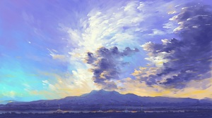 Landscape Clouds Sunset Mountains Digital Painting BisBiswas 1920x1080 Wallpaper