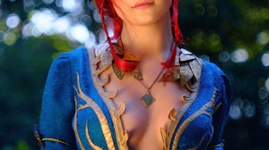 The Witcher Women Redhead Dress Cosplay 1440x2160 wallpaper
