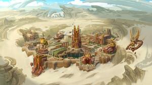 Avant Choi Digital Art Fantasy Art Fantasy Architecture Fantasy City Steampunk Desert Sand 1600x896 wallpaper
