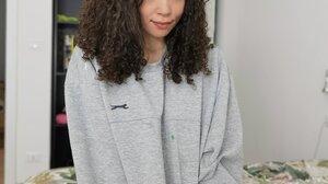 Brunette Green Eyes Looking At Viewer Curly Hair Women Sweatshirts Women Indoors 1470x1960 Wallpaper