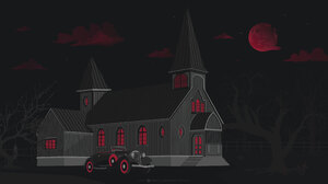 Antographics Blood Moon Moon Castle House Forest Trees Silhouette Red Neon Vintage Vintage Car Dark  3840x2160 Wallpaper