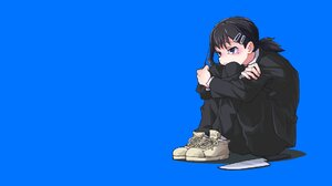 Anime Chainsaw Man Knife Anime Girls Sitting Blue Background Simple Background Black Hair Arms Cross 1920x1080 Wallpaper