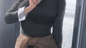 Kaguya Sama Love Is War Ponytail School Uniform Blushing Blue Eyes Covering Mouth Cardigan Black Swe 1500x2712 Wallpaper