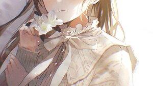 Anime Anime Girls Oyuyu Flowers Brunette Blush 1448x2048 Wallpaper