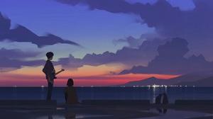 Artwork Sunset Sea Cats Clouds 1920x1080 Wallpaper