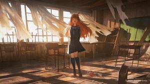 In Classroom Classroom Reoen Dusk Happy Curtains Broken Sailor Uniform School Uniform Anime Girls Br 2500x1399 Wallpaper