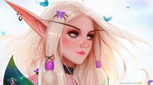 Nixri Women Blonde Elf Ears Earring Gray Eyes Freckles Artwork Fan Art Digital Art Elves 1488x871 wallpaper