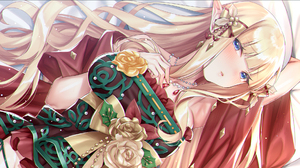 Long Hair Blonde Blue Eyes Flowers Roses Pointy Ears Necklace Blushing Elves Anime Girls Anime Chris 1920x1080 Wallpaper