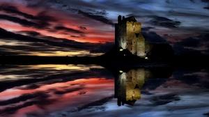 Dunguaire Castle Ireland Reflection Night Lake Cloud 2395x1090 wallpaper