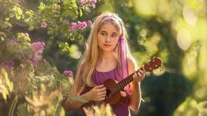 Women Model Guitar Colorful Women Outdoors Standing Musical Instrument Blonde Flowers Long Hair Youn 2560x1618 Wallpaper