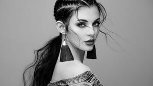 Woman Girl Monochrome Earrings Face 2048x1536 Wallpaper