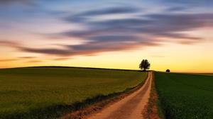 Field Sky Cloud Sunset 3840x2160 wallpaper