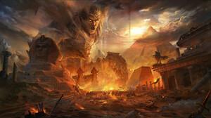 Jun Zhang Fantasy Art Digital Art Landscape Egypt Egyptian Mythology Pyramid Sphinx Battle Apocalypt 1500x849 Wallpaper