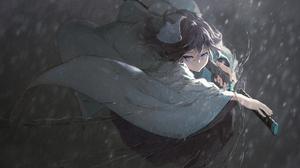 Anime Anime Girls KiSei2 Artwork Japanese Clothes Sword Rain 4260x2700 wallpaper