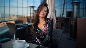 Dmitry Shulgin Cup Women Model Sitting Brunette Looking At Viewer Makeup Dress Flower Dress Lipstick 2048x1365 Wallpaper