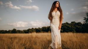 Women Model Field Outdoors Standing Makeup Dress Looking Into The Distance Red Lipstick Long Hair Re 4116x2648 Wallpaper