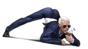 Joe Biden Ice Cream Sunglasses Suits USA Presidents Eating Evulart Humor Cartoon Helicopter 2560x1440 Wallpaper