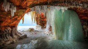 Cave Earth Frozen Ice Winter 2048x1365 Wallpaper