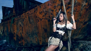 Albee Women Model Asian Silver Hair Looking At Viewer Parted Lips Weapon Necklace Dress Chest Harnes 3840x2393 Wallpaper