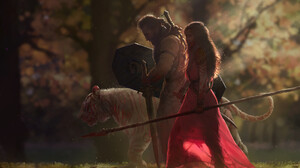 ALi ABED Warrior Red Dress White Tigers Forest Digital Art Women Brunette Men Spear Sword Shield Tig 1845x1213 Wallpaper