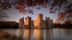 Bodiam Castle Building Castle England Lake Reflection 2020x1275 Wallpaper