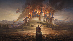 Artwork Fantasy Art Dragon Castle 2500x2081 Wallpaper