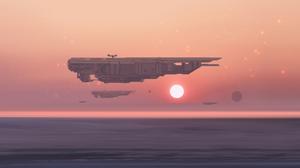 Digital Art Science Fiction Sun Sunset Spaceship Artwork Futuristic Sky Sea 3500x1600 Wallpaper