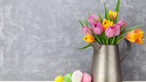 Colorful Colors Easter Easter Egg Egg Flower Pitcher Tulip 5575x3717 Wallpaper