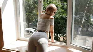 Women Model Blonde Looking At Viewer Window Crop Top Back Pants Indoors Women Indoors Belt Smiling T 1920x1280 Wallpaper