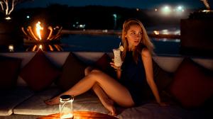 Ksenia Kokoreva Women Yuriy Lyamin Night Looking Away Long Hair Wind Black Clothing Legs Barefoot Pi 1800x1202 Wallpaper
