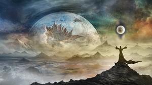 Collision Landscape Man Planet 3000x1500 Wallpaper