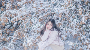 Snow Asian Women Model Cold Outdoors Women Outdoors Looking At Viewer Brunette Long Hair Smiling Red 2689x4032 Wallpaper