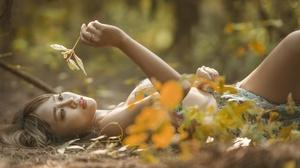 Asian Women Nature Model Women Outdoors Plants Lying On Back Makeup Brunette Red Lipstick 2400x1502 wallpaper