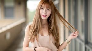 Asian Brunette Depth Of Field Girl Lipstick Long Hair Model Smile Woman 2048x1364 Wallpaper