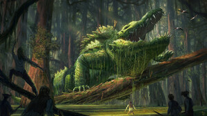 Animal Creature Crocodile Forest People Scary 1920x1080 Wallpaper