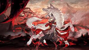 Anime Anime Girls Wolf Wolf Ears Knife Mountains Wolf Girls Arknights Projekt Red Arknights 3840x2160 Wallpaper