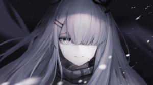 Anime Anime Girls Arknights Frostnova Arknights Gray Hair Snow Silver Hair One Eye Closed Timitarcat 2560x1440 wallpaper