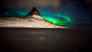 Aurora Borealis Mountain Nature Night 2048x1152 Wallpaper