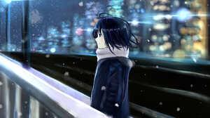 City Cold Light Night Scarf Snow 3507x2480 Wallpaper