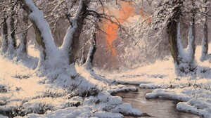 Artistic Forest Painting River Snow Stream Winter 1600x1200 Wallpaper