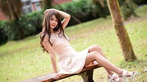 Woman Model Girl Pink Dress Brunette Brown Eyes Smile Depth Of Field 2048x1367 Wallpaper