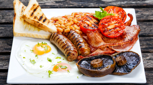 Bacon Beans Bread Egg Meal Mushroom Sausage Toast Tomato 6016x4011 Wallpaper