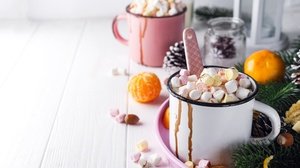 Hot Chocolate Mandarin Marshmallow Mug 6016x4016 Wallpaper