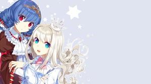 Blonde Blue Eyes Blue Hair Crown Long Hair Red Eyes Smile Star Tiara Bow Clothing 2552x1552 Wallpaper