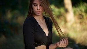 Depth Of Field Girl Long Hair Model Mood Redhead Woman 3840x2560 wallpaper