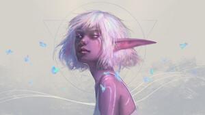 Elf Girl Pointed Ears Short Hair White Hair Woman 1920x1080 wallpaper